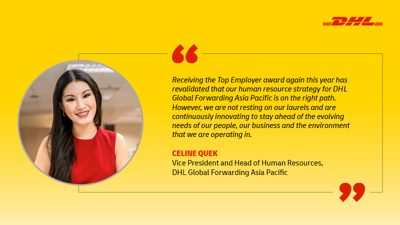 DHL Global Forwarding Asia Pacific recognized as Certified Top Employer 2021 second time in a row