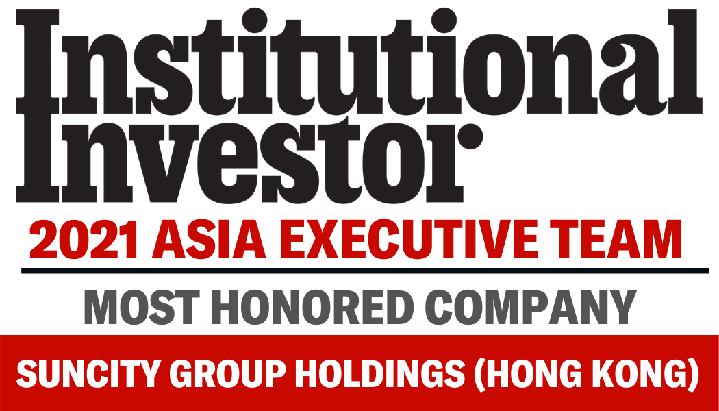 Suncity voted as Number 1 in Gaming  Lodging Sector in the Institutional Investor 2021 All-Asia Executive Rankings