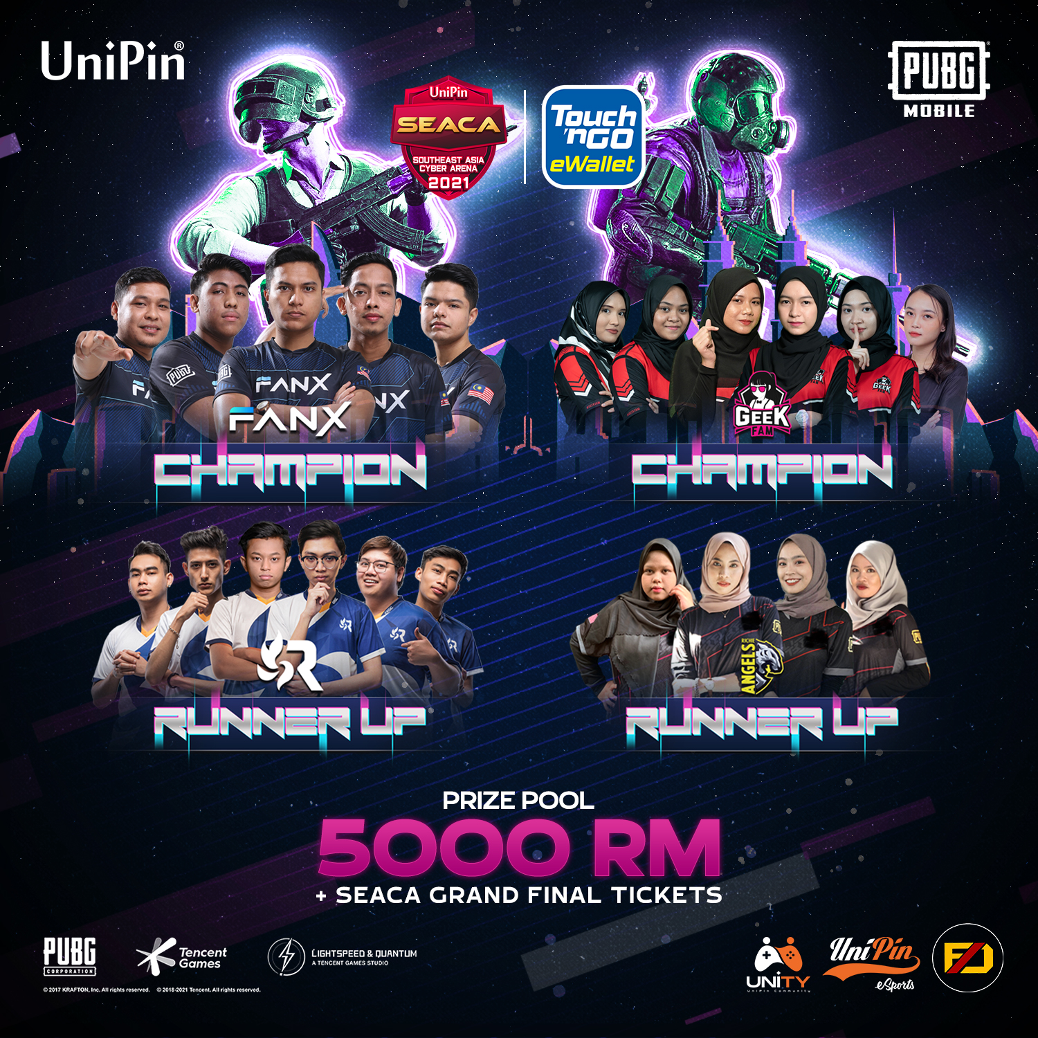Four Top Malaysian Teams Will Compete in the UniPin SEACA 2021 Grand Final One of the Largest Esports Tournaments in SEA