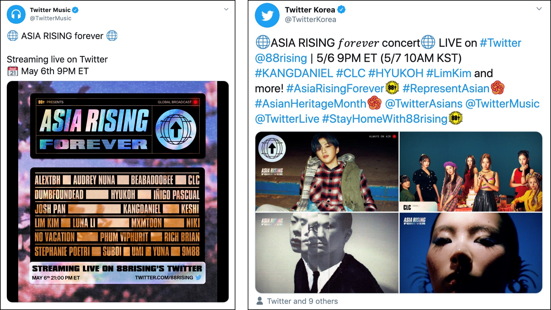 "Twitter sẽ livestream buổi hòa nhạc ""ASIA RISING FOREVER"" toàn cầu nhằm"