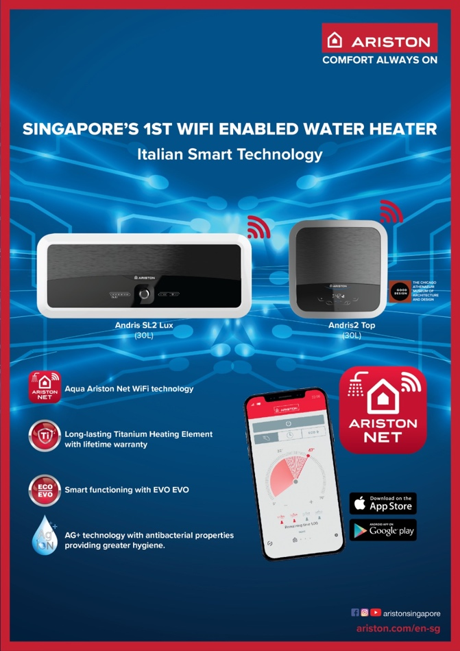 Ariston: Singapores First-ever WiFi-enabled Smart Water Heater Now Complete with Full Range and Design to Fit Any Bathroom Design