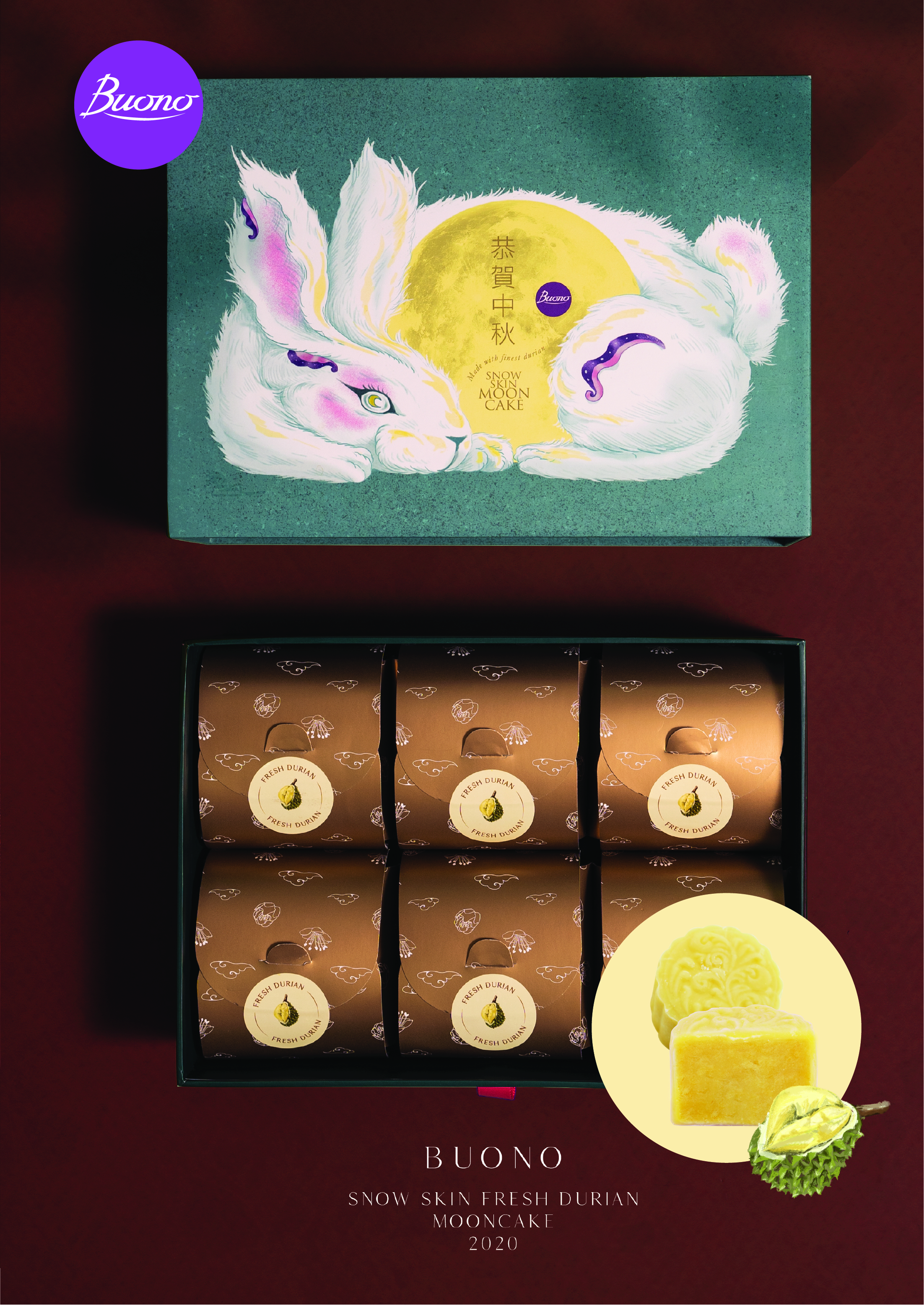 Buono Thailand Launches Buono Snow Skin Mooncake with 100% Thai Monthong Durian in Collaboration with Taiwanese Illustrator Jun-Jun for Mid-Autumn Festival