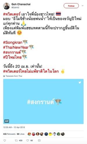 Twitter Celebrates Songkran Water Festival With Custom Emoji
