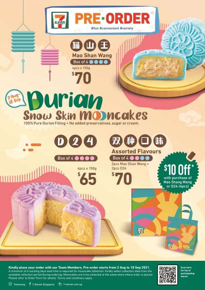 7-Eleven launches exclusive Durian Snowskin Mooncakes - perfect for gifting family and friends this season!