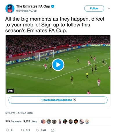Follow the Emirates FA Cup with customised Twitter DM notifications