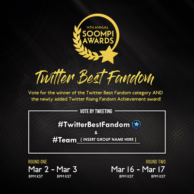 #TwitterBestFandom voting category to recognize most passionate and fastest-growing KPop fandoms at 14th Annual Soompi Awards