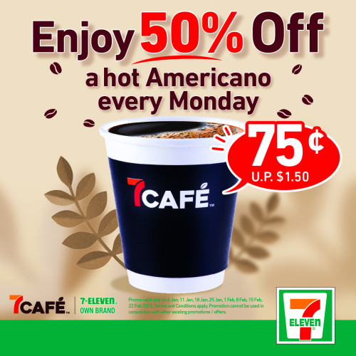 Enjoy Half Price Hot Americanos from 7Café every Monday!