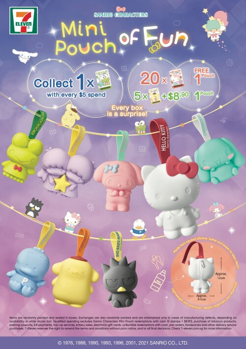 Sanrio characters back as handy silicone zip pouches exclusively by 7-Eleven's Shop and Earn stamps programme