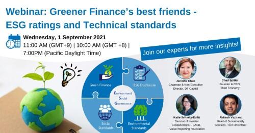 <div>TÜV Rheinland's Webinar: Greener Finance's best friends - ESG ratings and Technical standards</div>