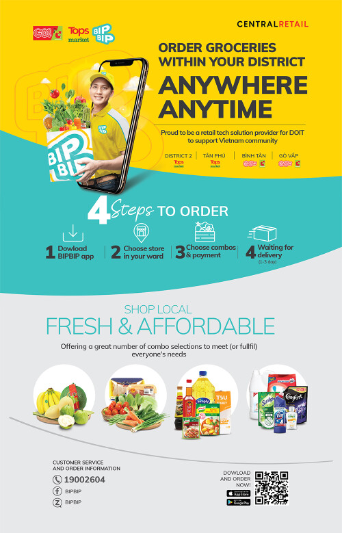 Central Retail Vietnam partners with Ho Chi Minh City's authorities to deploy BIPBIP apps for residents' convenient online grocery shopping