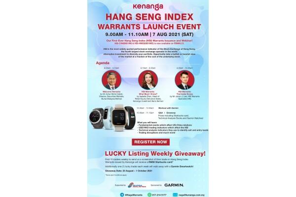 Ngân hàng Đầu tư Kenanga (Malaysia) tổ chức hội thảo trên web về Chứng quyền Chỉ số Hang Seng